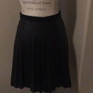 J. Crew Black Faux Leather Pleaded Skirt
